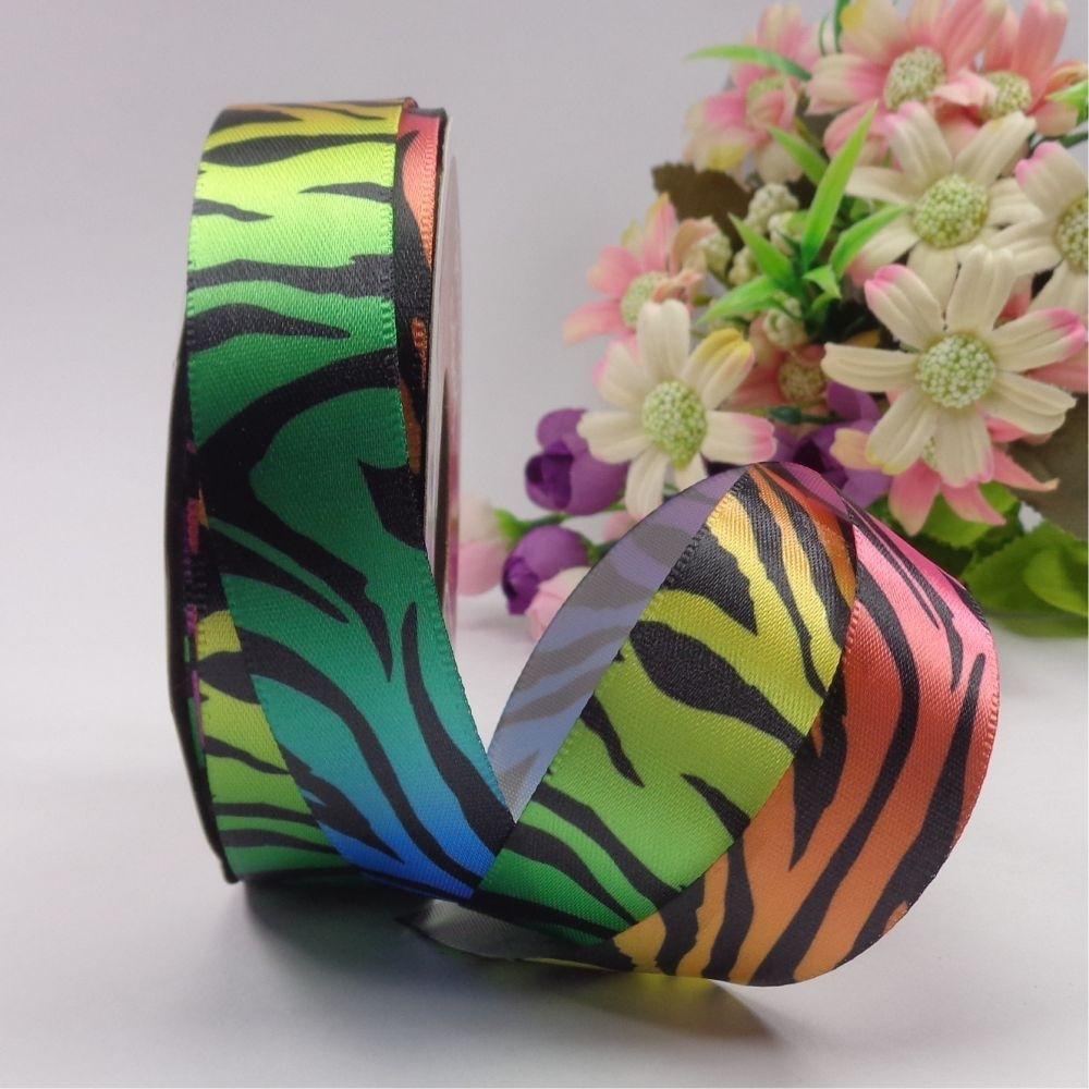 Rolo fita cetim - Zebra arco iris - 23 mm