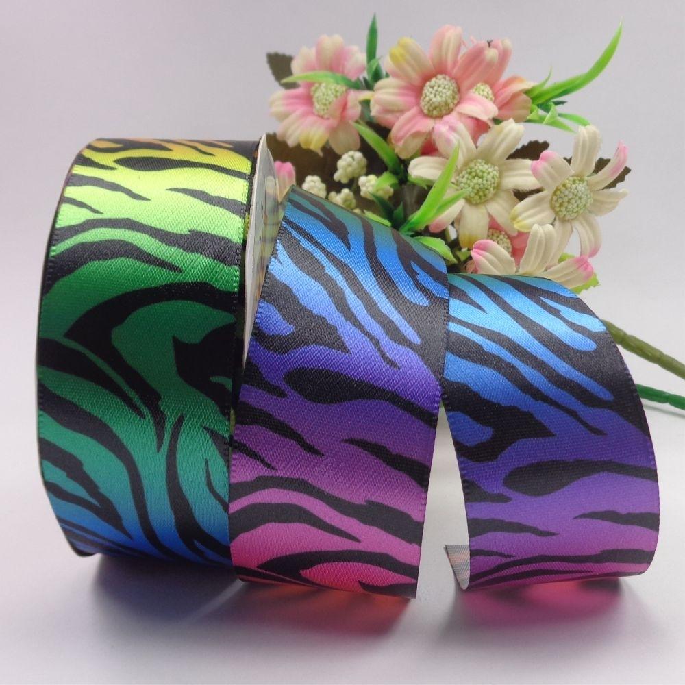 Rolo fita cetim - Zebra arco iris - 38 mm