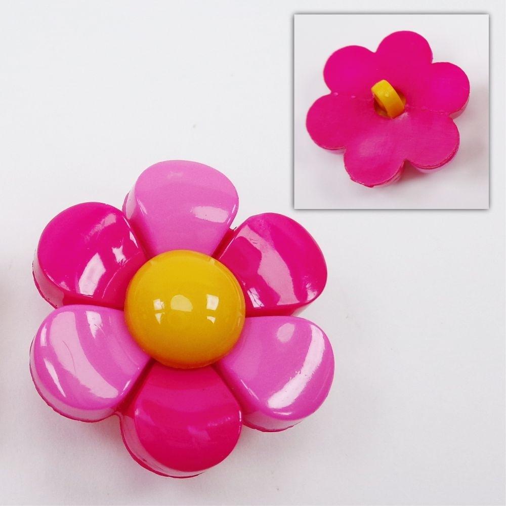 Botão - Flor Rosa e Pink