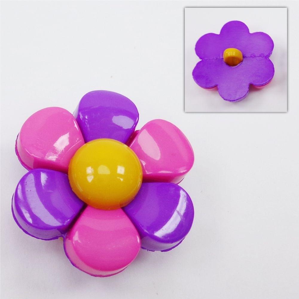 Botão - Flor Rosa e Lilas