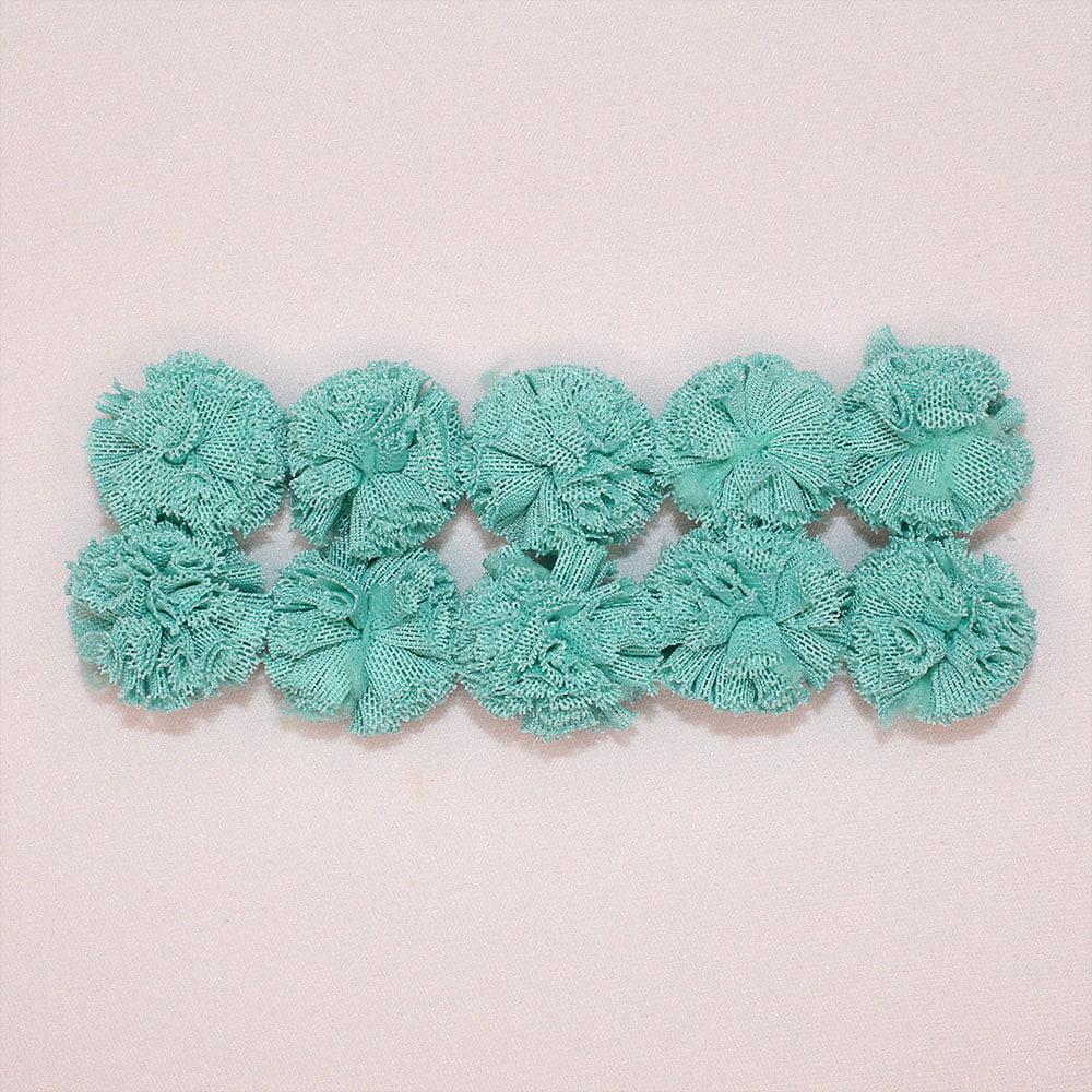 10 Pompons Sorvetinho de Poliéster - Verde Turquesa