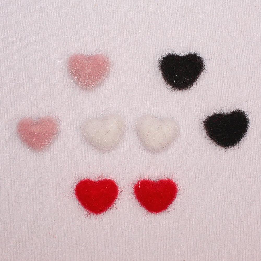 Aplique mini coração de Veludo - Colorido - 8 unidades
