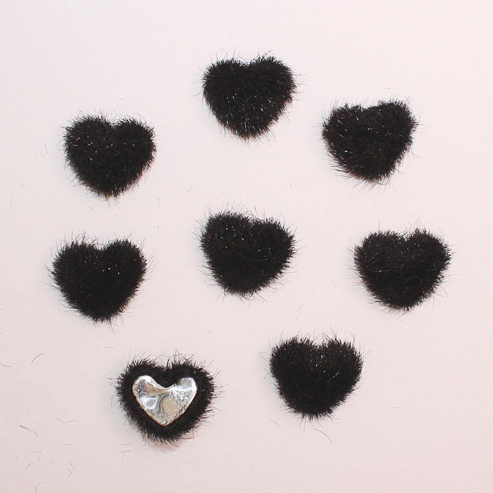 Aplique mini coração de Veludo - Preto - 8 unidades