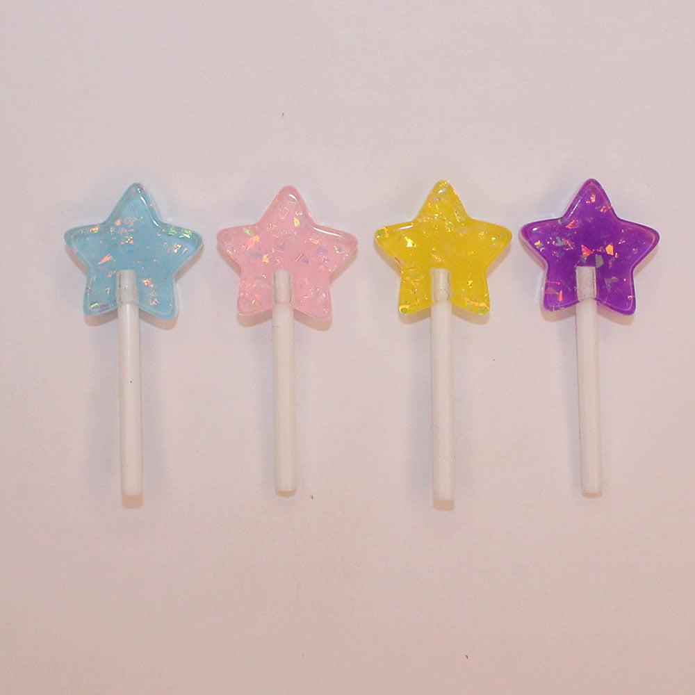 Aplique Pirulito Estrela de Resina - 4 unidades