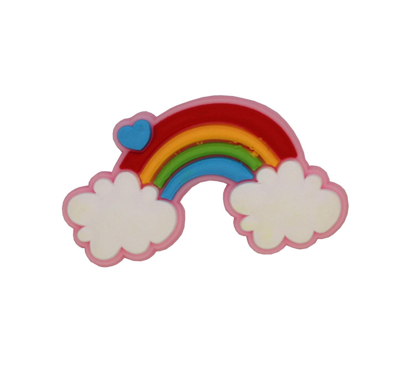 Aplique silicone - arco-íris colorido