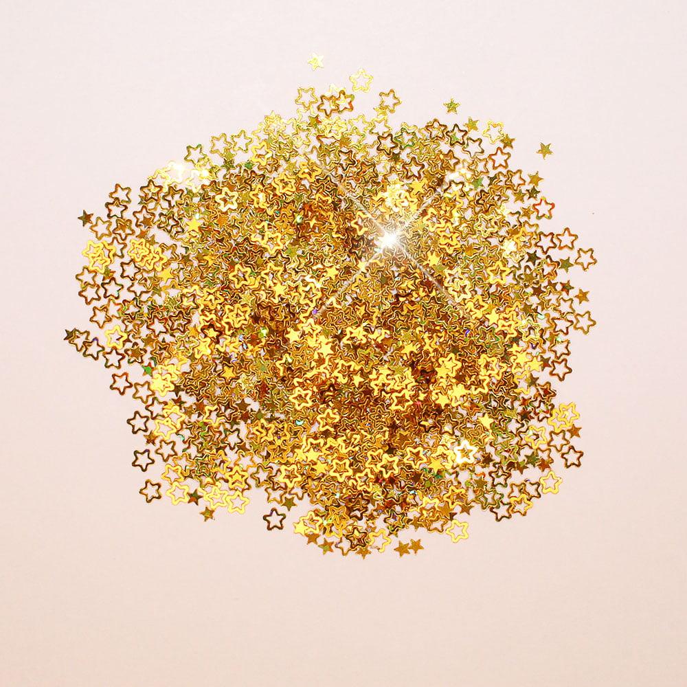 Mini Aplique - Confete Estrela Dourado - 5 g