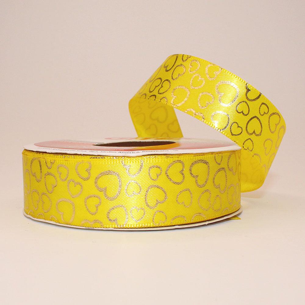 Rolo de fita cetim - Coração vazado fundo amarelo - 23 mm