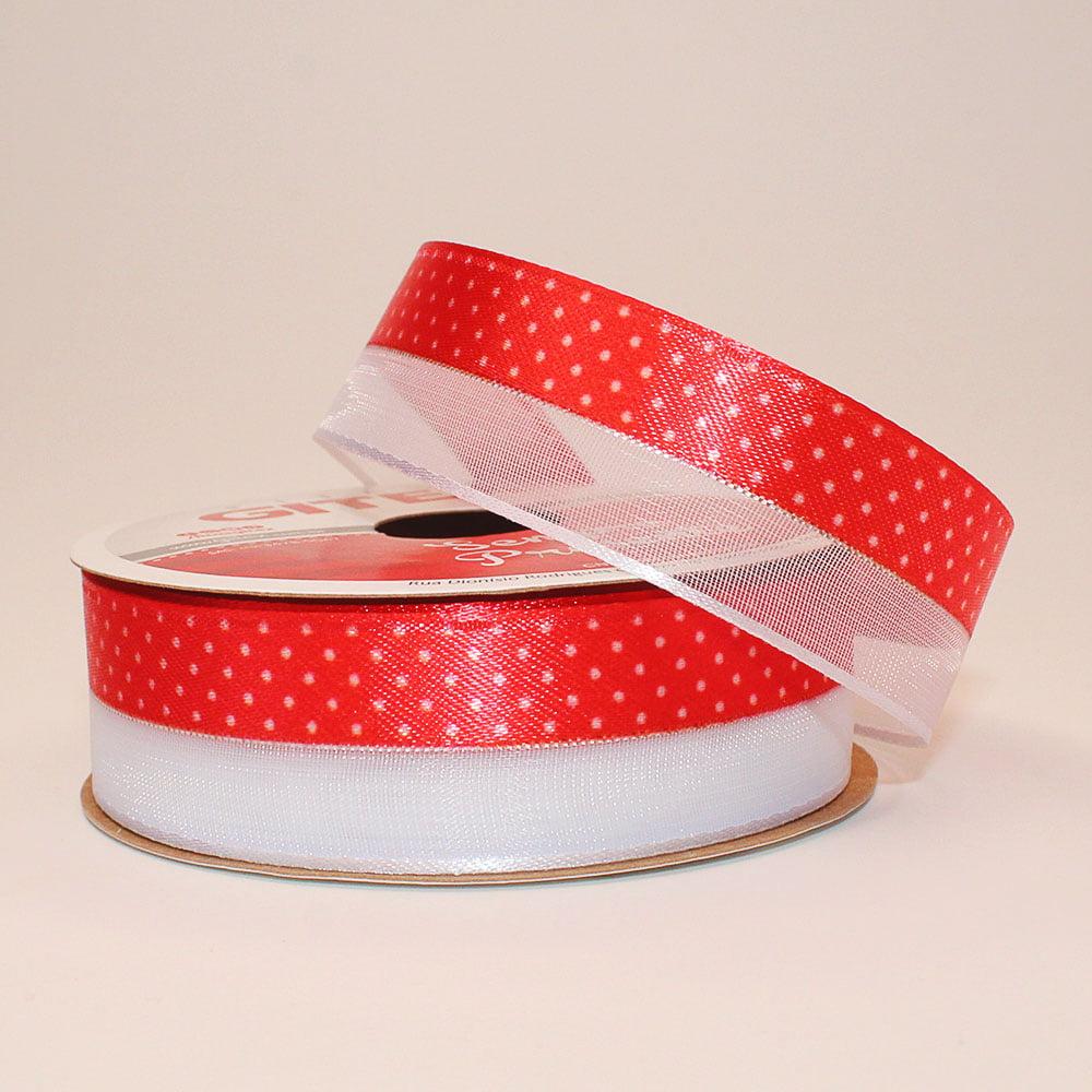 Rolo de fita cetim - Voal com cetim poã vermelho- 22 mm