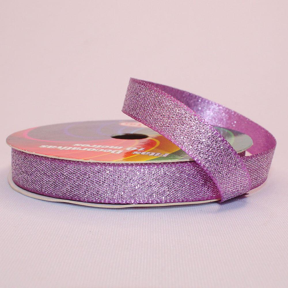 Rolo de fita cetim gliterizado - Lilas - 10 mm