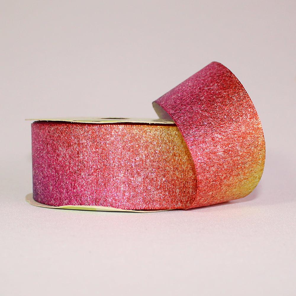 Rolo de fita Cetim Lurex  - Brilho Pink e Roxo
