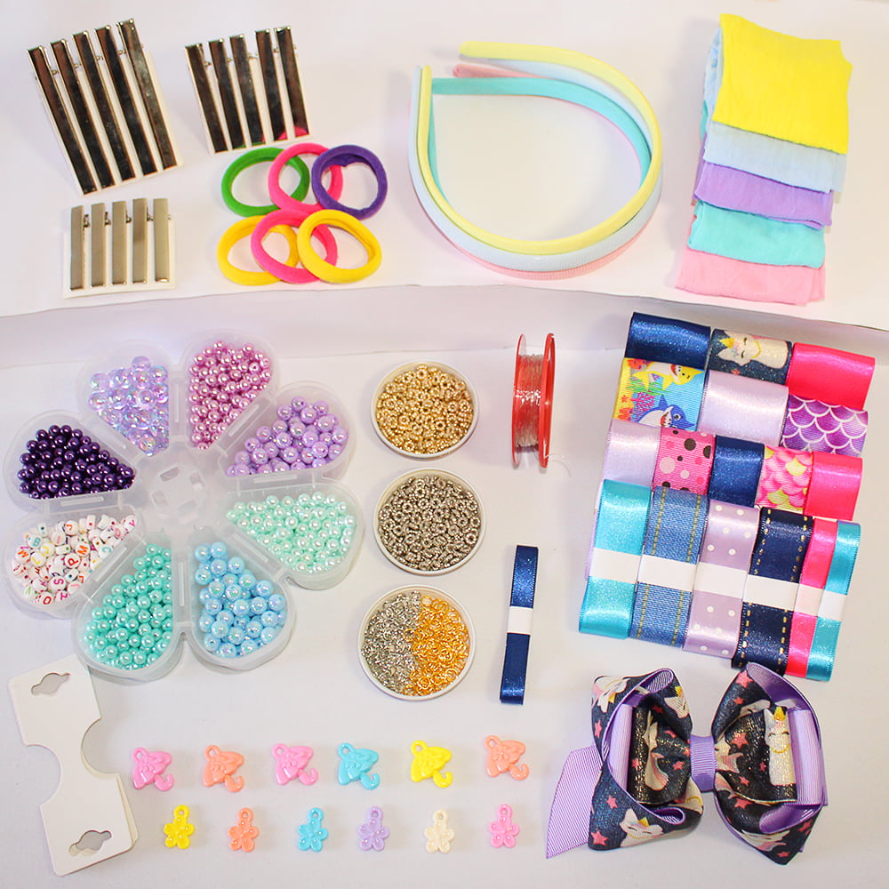 Kit Azul: acessórios variados e fitas + miçangas para pulseiras