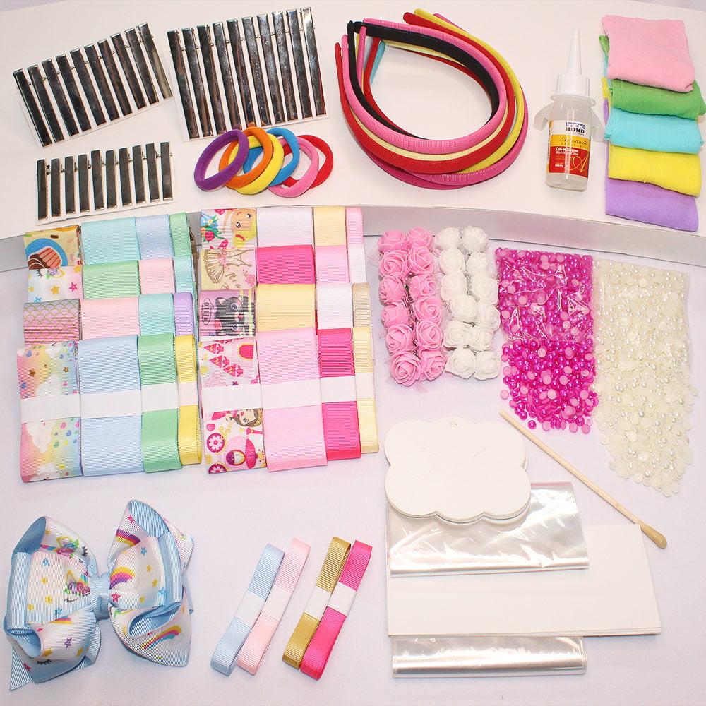 Kit iniciante com fitas de gorgorão acessórios e acabamentos - fitas variadas - lisas e estampadas