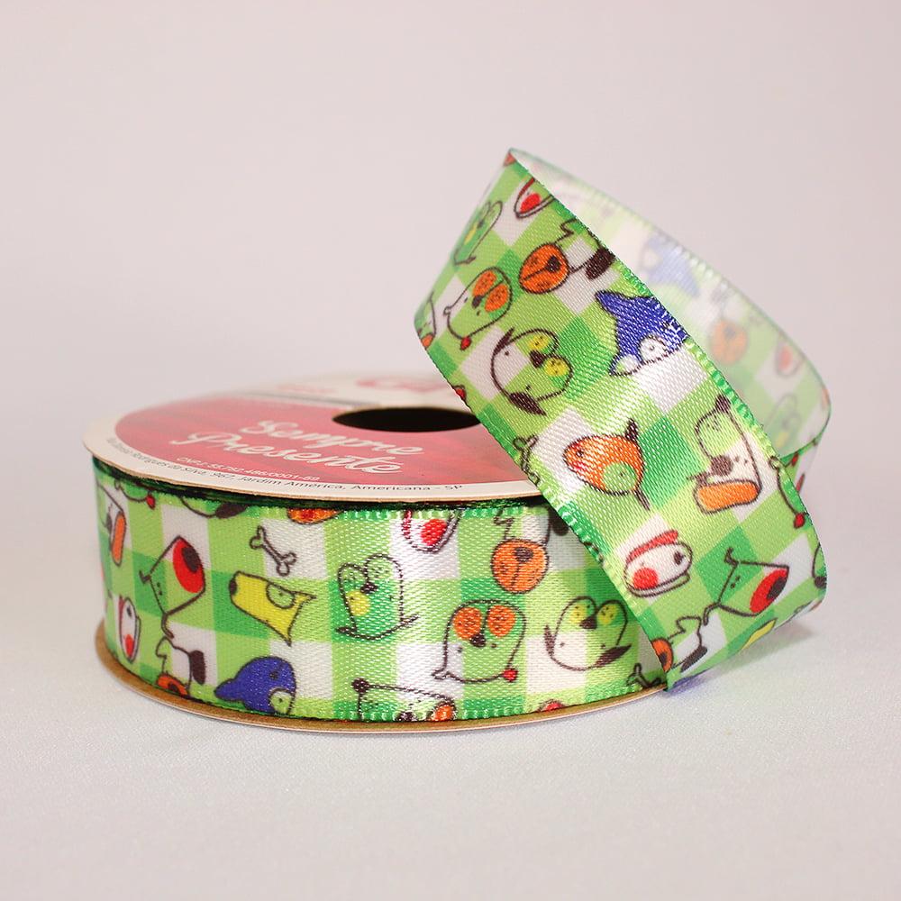 Rolo de fita cetim - Dog com Pintas Coloridas Fundo Xadres Verde - 22 mm