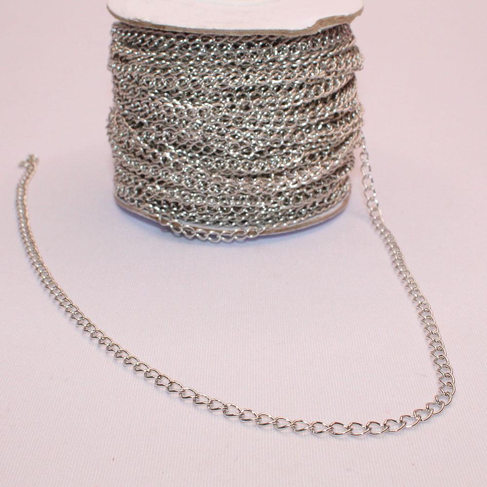 Corrente de Alumínio para bijuterias Prata - 1 metro
