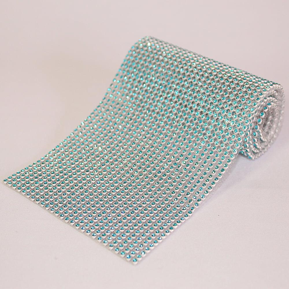 Manta Prata com Strass Azul 10 cm x 22 cm