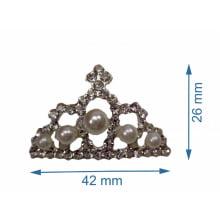 Coroa Prata com Strass e Pérola