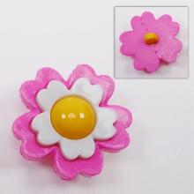 Botão - Flor Rosa e Branca