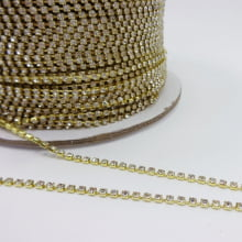 Corrente dourada com strass - 01 metro SS6.5