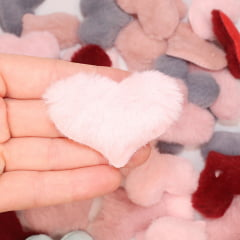 Aplique Coração de Pelúcia - Rosa
