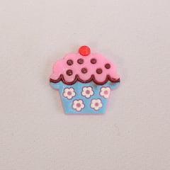Aplique de Silicone - Cupcake Rosa com Azul