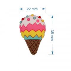 Aplique silicone - sorvete colorido