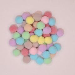 Mini Pompons Coloridos - 50 unidades