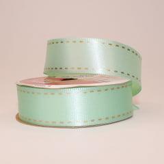 Rolo de fita cetim - Pespontada com fundo verde claro - 22 mm