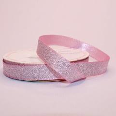 Rolo de fita cetim gliterizado - Rosa - 10 mm