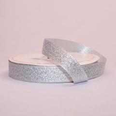 Rolo de fita cetim gliterizado - Prata - 10 mm