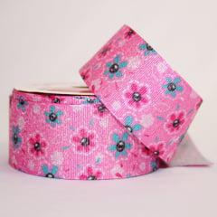 Rolo de fita gorgorão 10 metros - Flores no fundo rosa com gliter - 38 mm