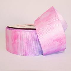 Rolo de fita gorgorão 10 metros - Tie-Dye Rosa e Roxo - 38 mm