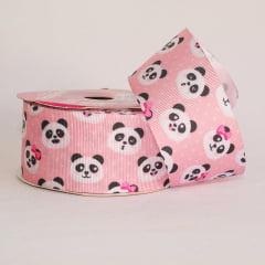 Rolo de fita gorgorão - Panda fundo rosa - 38 mm