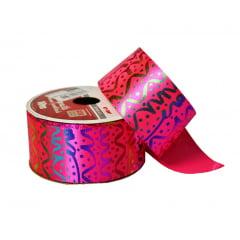 Rolo Fita Cetim - Hot Stamp Carnaval - 38 mm
