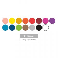 Massa de EVA para artesanato Kit com 15 cores - 250 g Leoarte