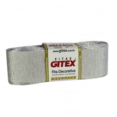 Fita gorgorão gliter Gitex - Prata - 38 mm