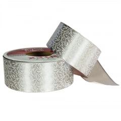 Rolo fita cetim - Folhagem branca/fundo prata - 38 mm