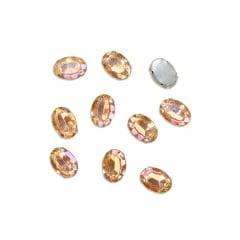 Pedra Engrampada Prata Oval 10 mm x 14 mm com 10 unidades
