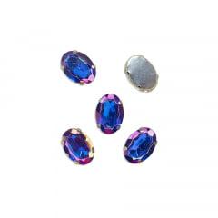 Pedra Engrampada Prata Oval 13 mm x 18 mm com 5 unidades