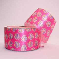 Rolo de fita cetim - Patinhas Colorful fundo rosa poa branco - 38 mm