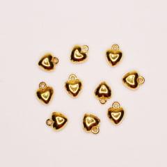 Pingente ABS - Coração Pequeno Dourado - 10 un