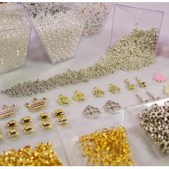 Kit de miçangas para confecção de pulseiras - Branco