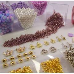 Kit de miçangas para confecção de pulseiras - Lilás