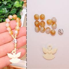 Conjunto de miçangas para fazer mini terço - Dezena - Lembrancinha