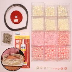 Conjunto de pérolas em diferentes tamanhos para compor tiaras