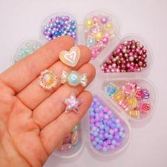 Conjuntos de miçangas cristais e perolas mescladas para pulseiras + Fio de Silicone