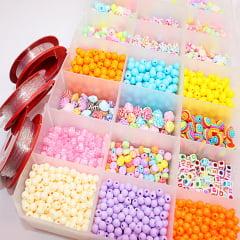 Estojo com miçangas coloridas variadas - 650 g  de miçangas + fio de silicone