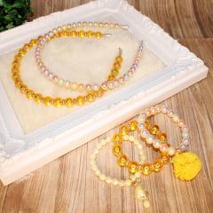 Kit de miçangas e acessórios para pulseiras e tiaras - amarelo