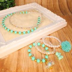 Kit de miçangas e acessórios para pulseiras e tiaras - azul turquesa