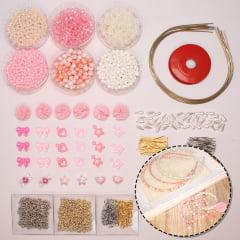 Kit de miçangas e acessórios para pulseiras e tiaras - rosa