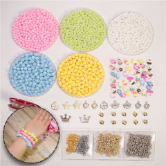 Kit de miçangas, pérolas e acessórios para pulseiras - Docinhos
